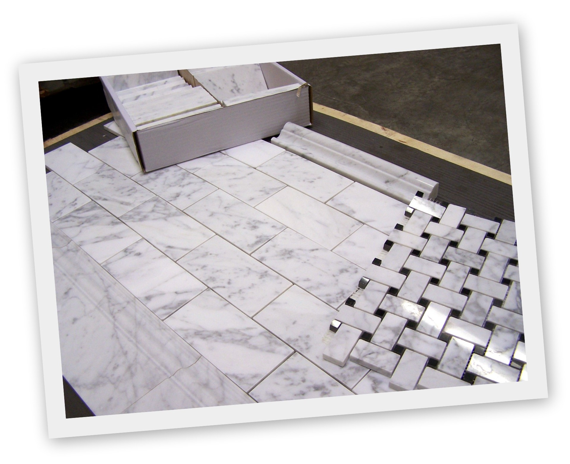 Carrara Bianco Honed Subway Tile and Polished Basketweave | the ...