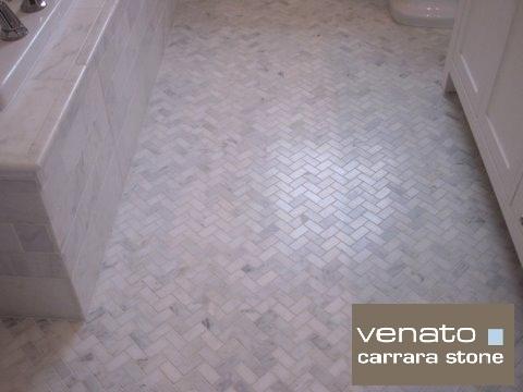 Carrara venato herringbone mosaic the builder - Carrara marble floor tile bathroom ...