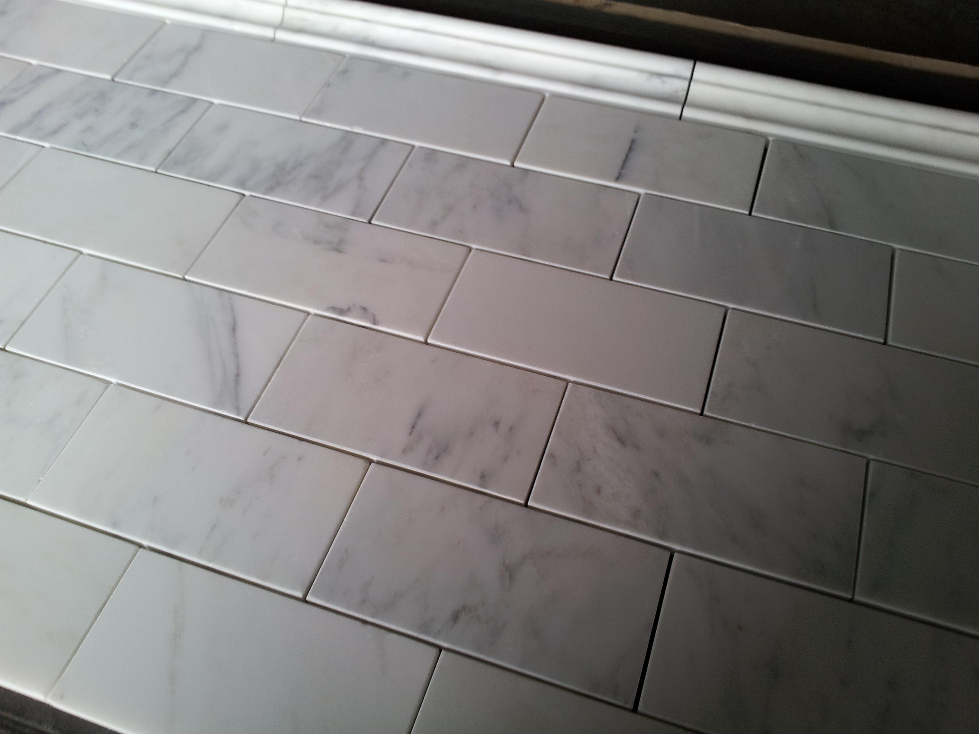 Carrara marble subway tile lowes roselawnlutheran carrara venato 36u2033 subway tile dailygadgetfo Choice Image