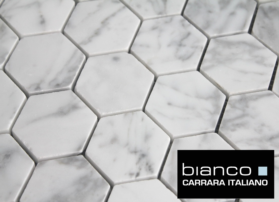 Carrara Hexagon Bianco Honed Mosaic Tile SF The Builder - 2 carrara marble hexagon floors