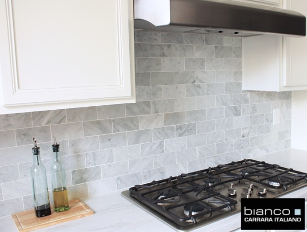 Carrara bianco 3 6 kitchen backsplash the builder depot Italian marble backsplash
