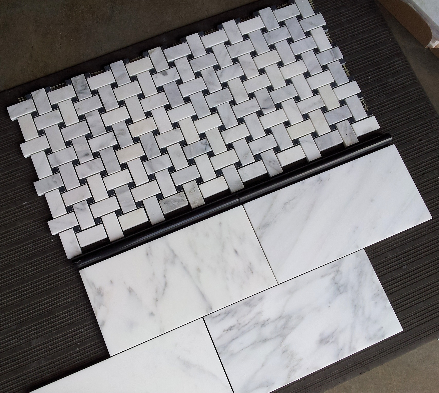 carrara venato basketweave and 612u2033 subway tile the builder depot blog