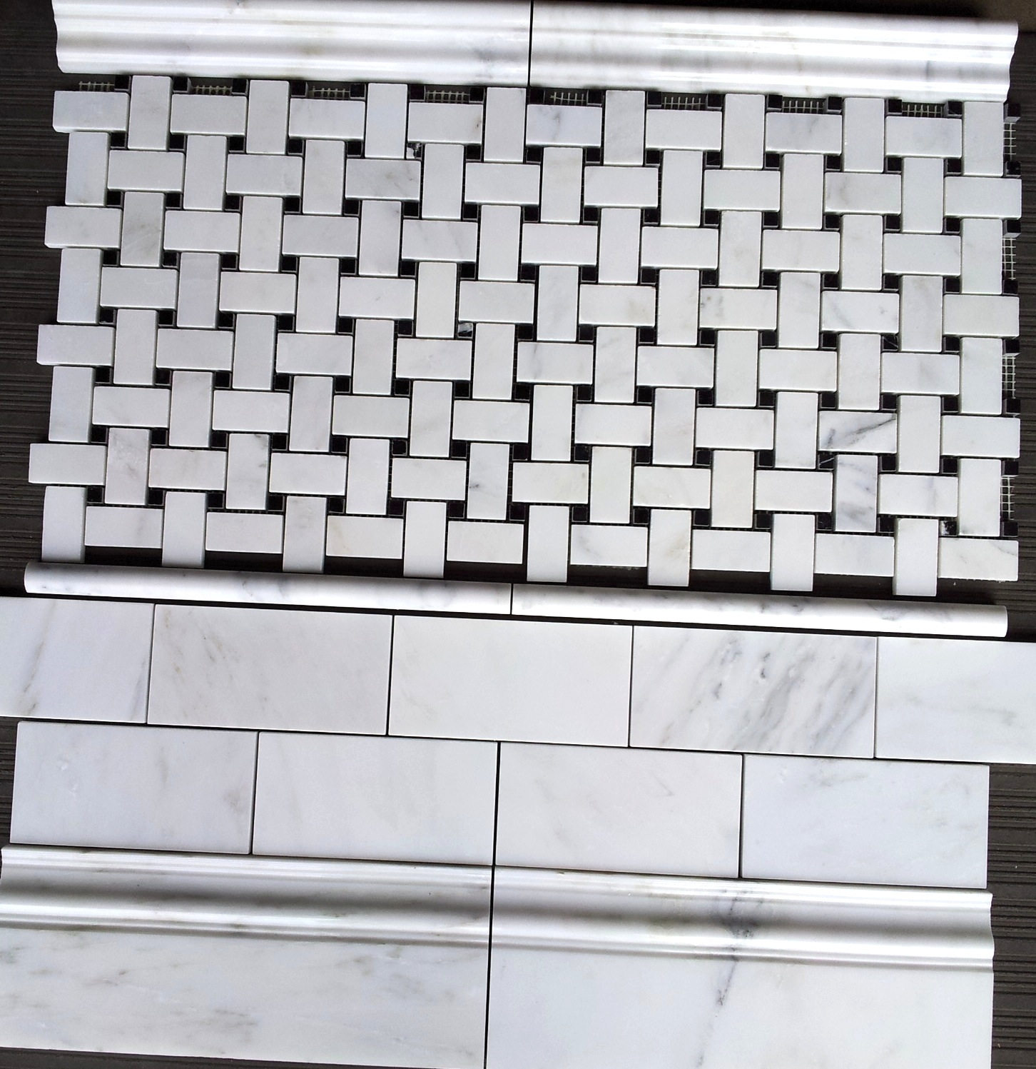 "3x6"" Carrara Venato Polished and Basketweave"