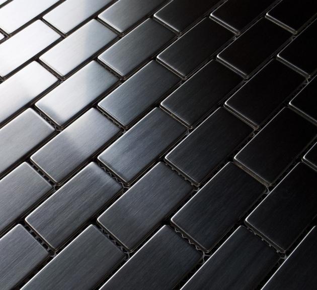"1x2"" Stainless Steel Brick Metal Mosaic Tile"