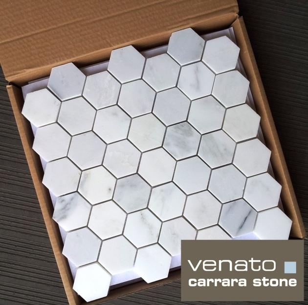 """Carrara Venato 2"""" Hexagon"""