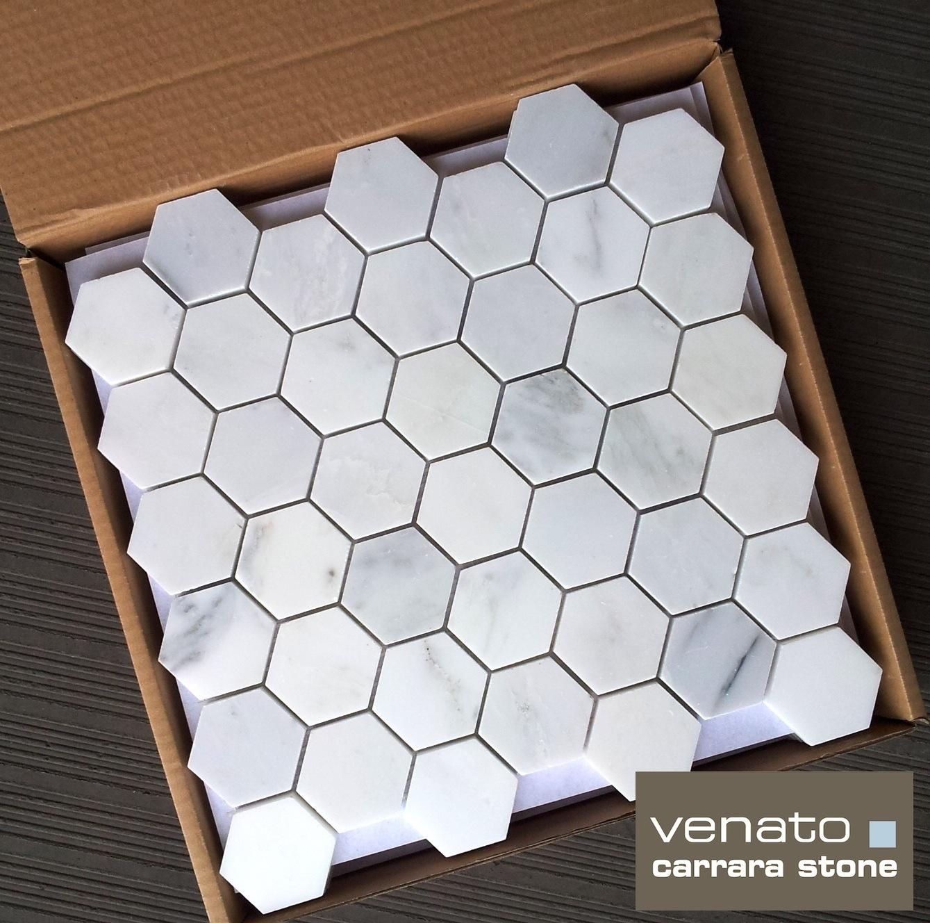 Carrara venato 22 hexagon mosaic tile 1175sf the builder carrara venato 2 hexagon mosaic dailygadgetfo Images