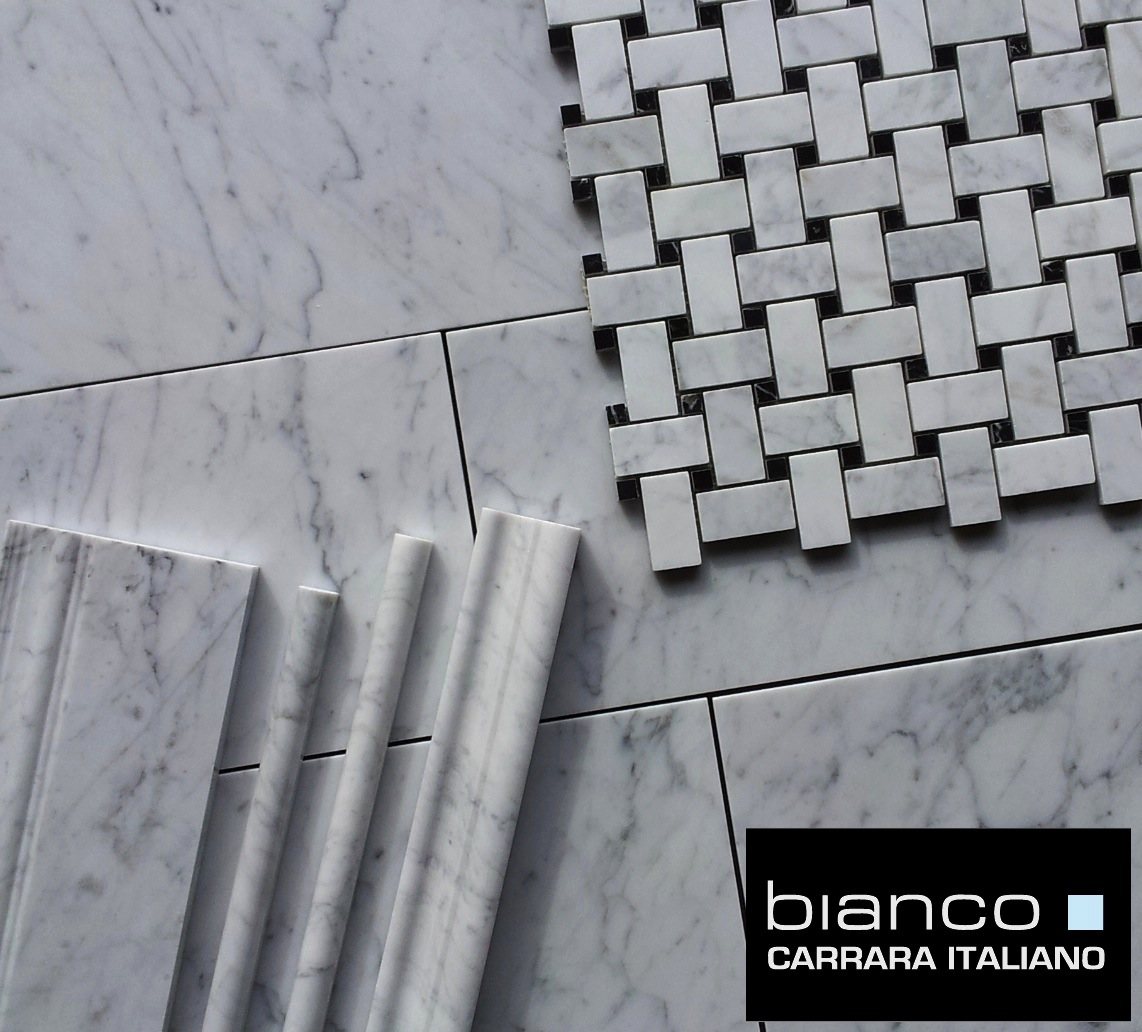 "Carrara 8x16"" Trims and Basketweave Bianco Collection"