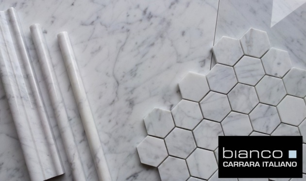 "Carrara Bianco 16x16"" Polished, Trims and Hexagon"