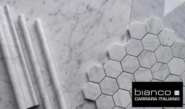 "Carrara Bianco 16x16"" Polished, Trims and Hexagon"