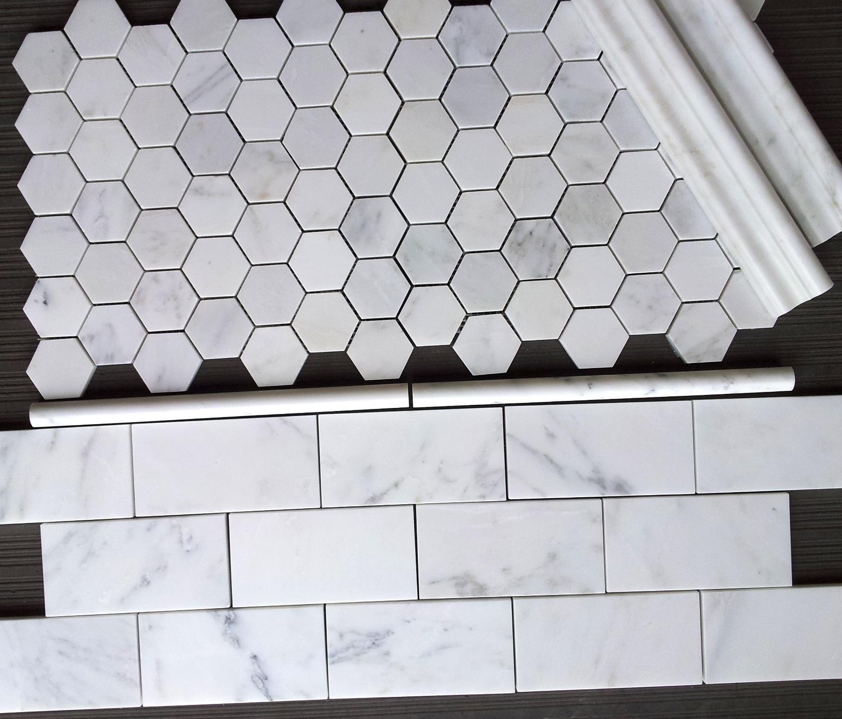 """Carrara Venato 2"""" Hexagon and 3x6"""" Subway Tile"""