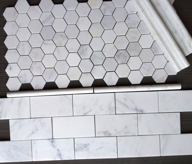 "Carrara Venato 2"" Hexagon and 3x6"" Subway Tile"