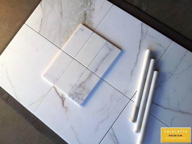 "12x12"" Calacatta Honed Marble Tile"