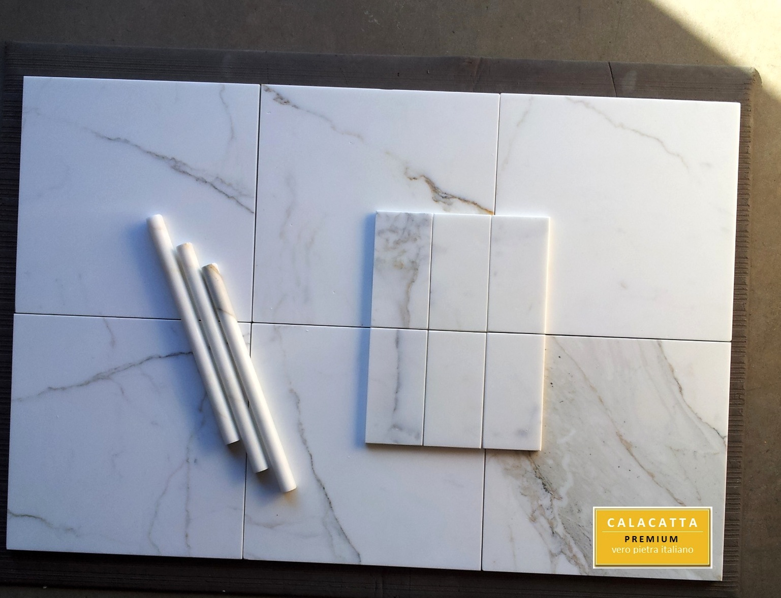 "12x12"" Calacatta Marble Tile and 3x6"" Honed"