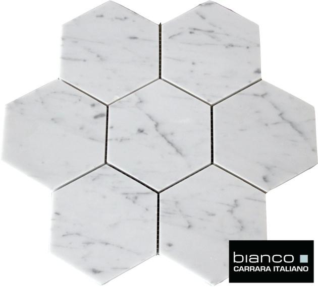 "Carrara 5x5"" Hexagon Mosaic"