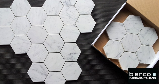 "Carrara Bianco Polished 5x5"" Hexagon"