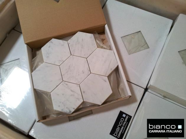 Carrara Bianco 5x5 Hexagon