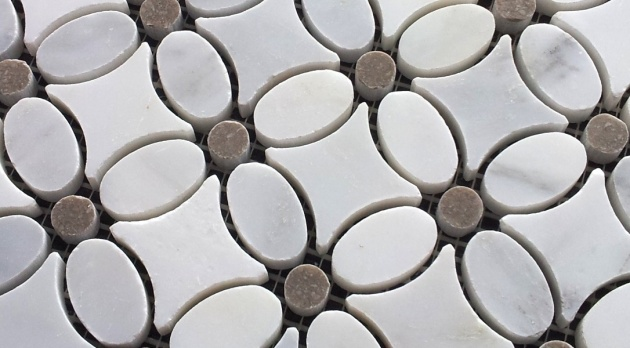 Flower Carrara Mosaic Gray Dot - small