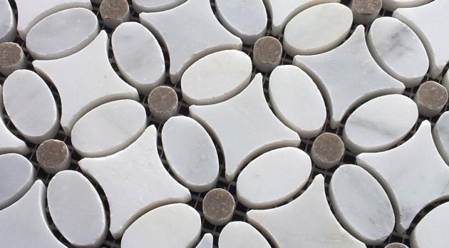 Flower Carrara Mosaic Gray Dot - small