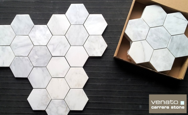Carrara Venato 5x5 Hexagon