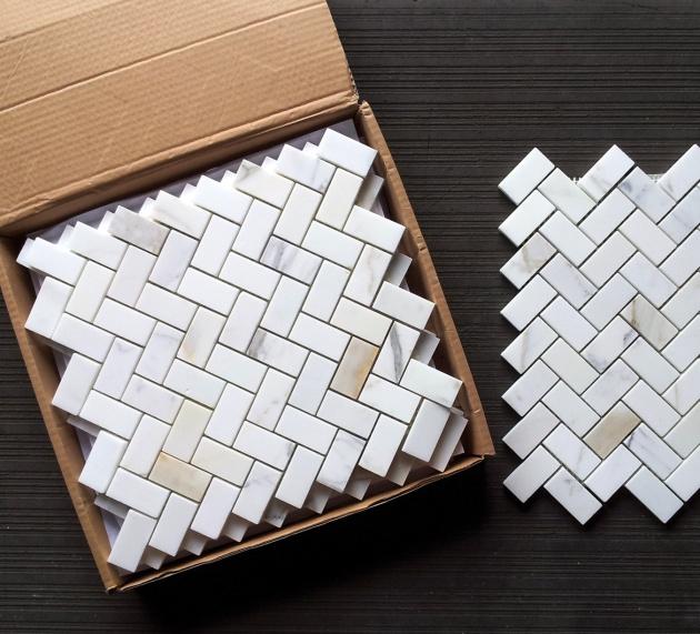 Calacatta Herringbone Mosaic Tile