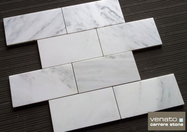 "Carrara Venato 4x8"" Subway Tile Honed"