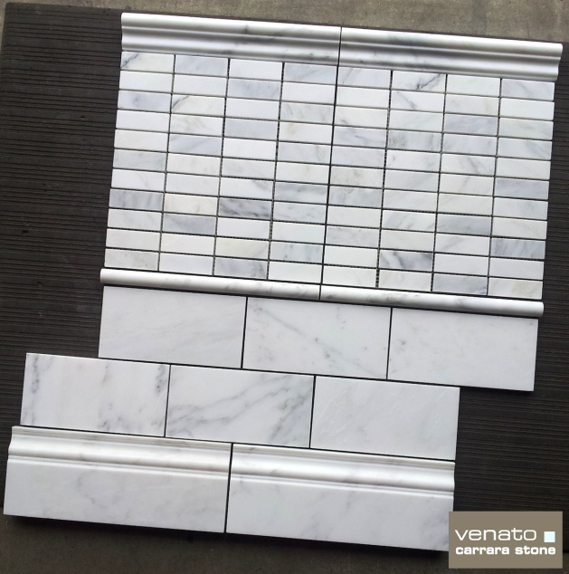 "Carrara Venato Honed 1x3"" Mosaic and 4x8"" Subway Tile"