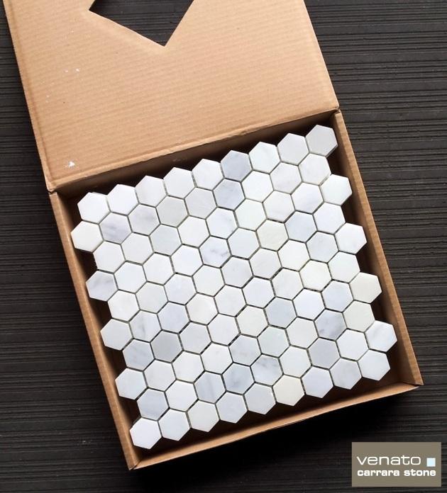 "Carrara Venato 1.25"" Hexagon Polished"