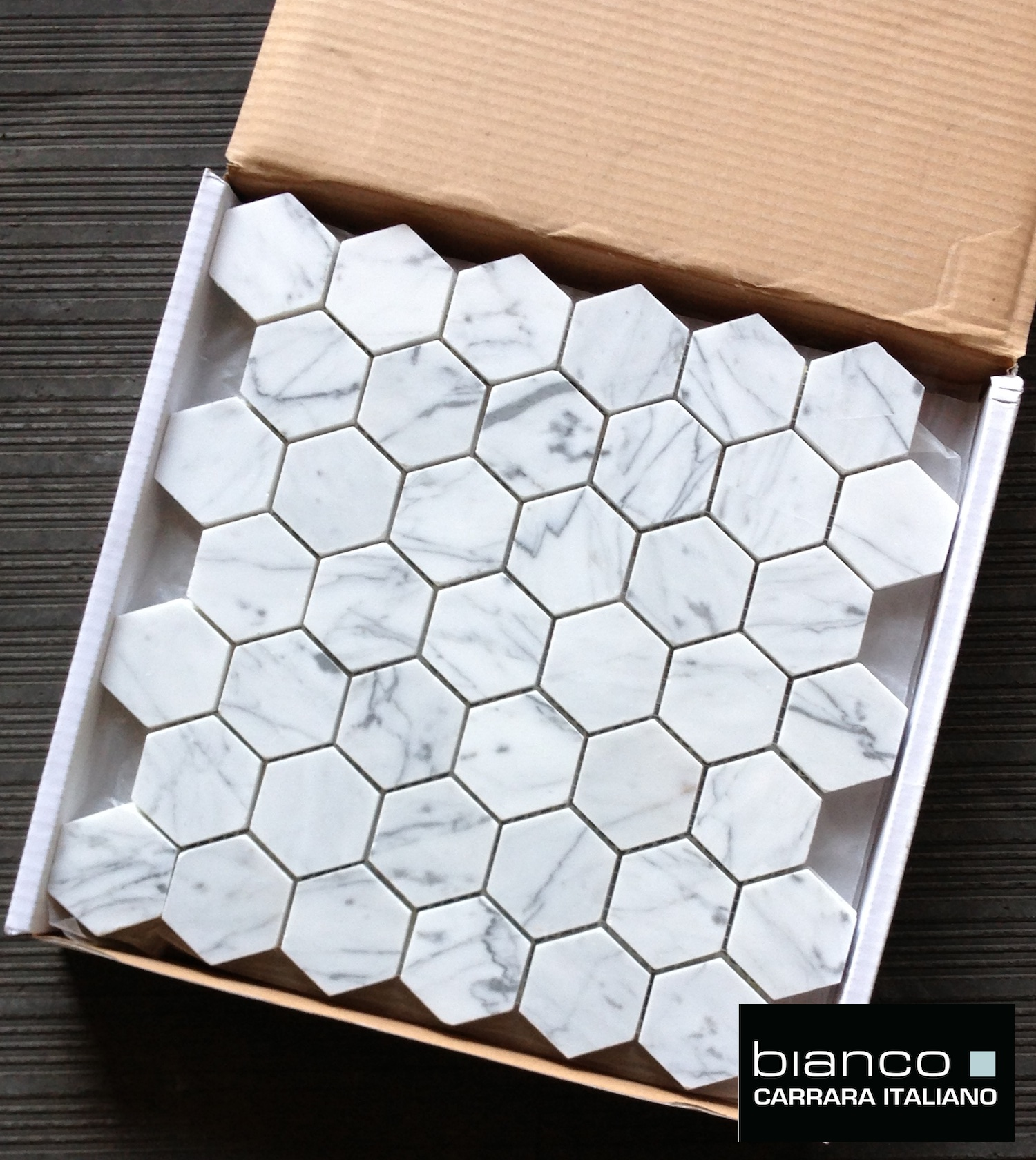 Perfect Lot Of Bianco Polished 2 Hexagon Mosaic Tile
