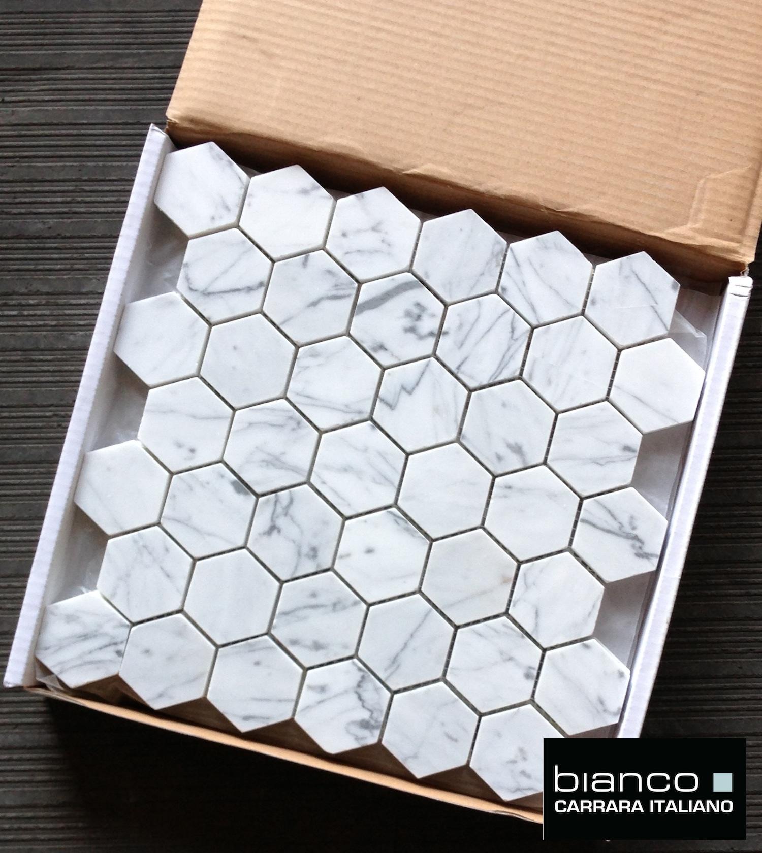 Perfect Lot Of Bianco Polished 2 Hexagon Mosaic Tile