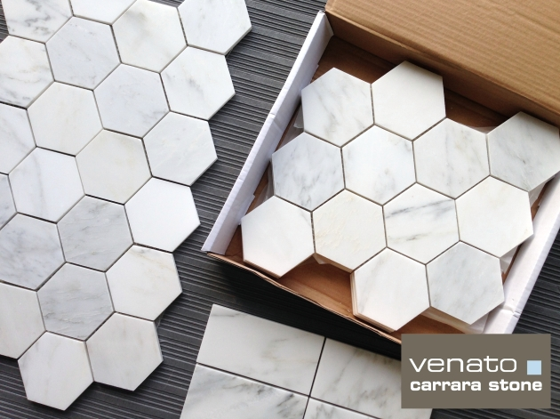 "Carrara Venato Honed 4x4"" Hexagon Mosaic Tile"