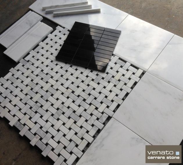 Venato 12x12 Polished Nero Marquina and Pencil