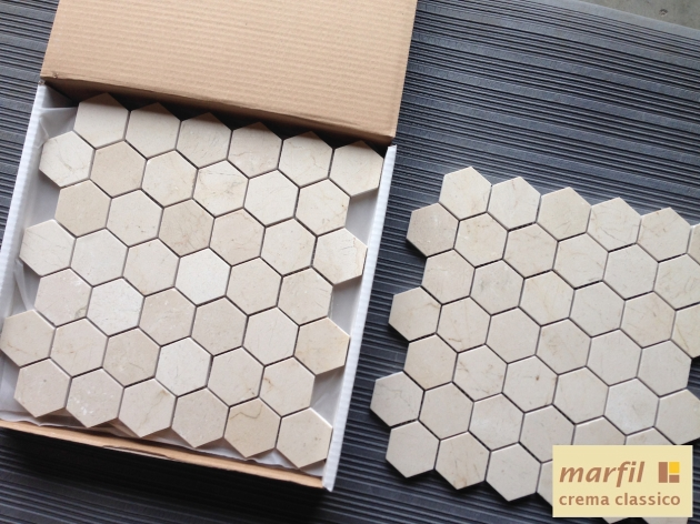 "Crema Marfil 2x2"" Hexagon Mosaic Tile"