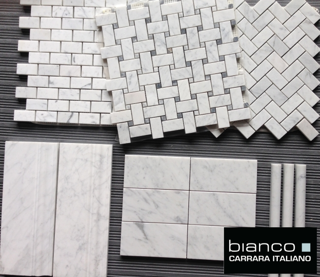 Honed and Polished Carrara Bianco Marble Tiles and Mosaics