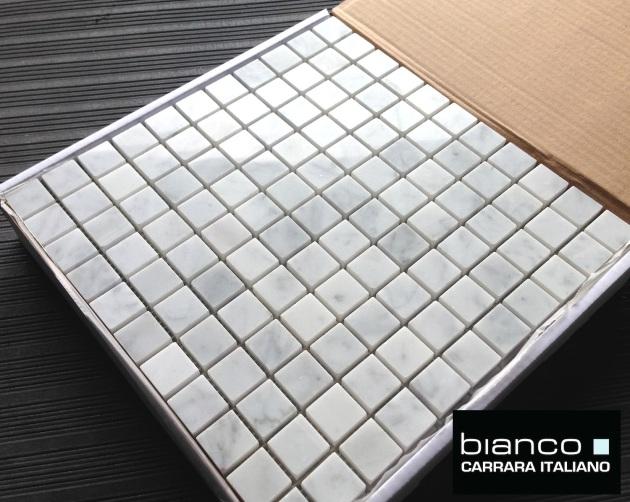 "Carrara Bianco 1x1"" Polished Mosaic Tile"