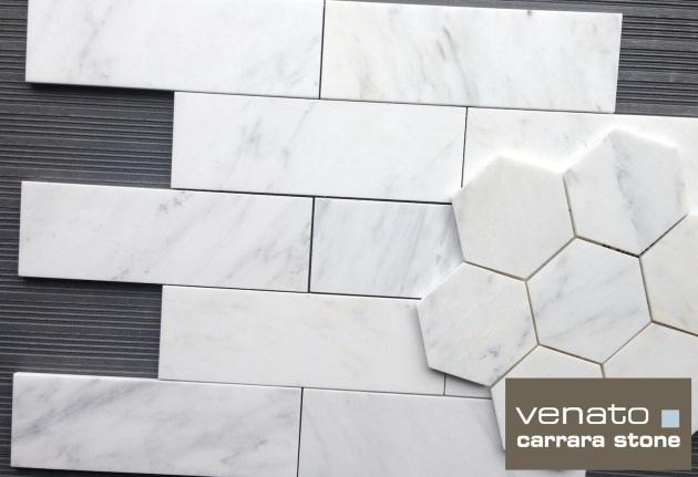 4x12 Subway Tile  with 5x5 Hexagon Mosaic