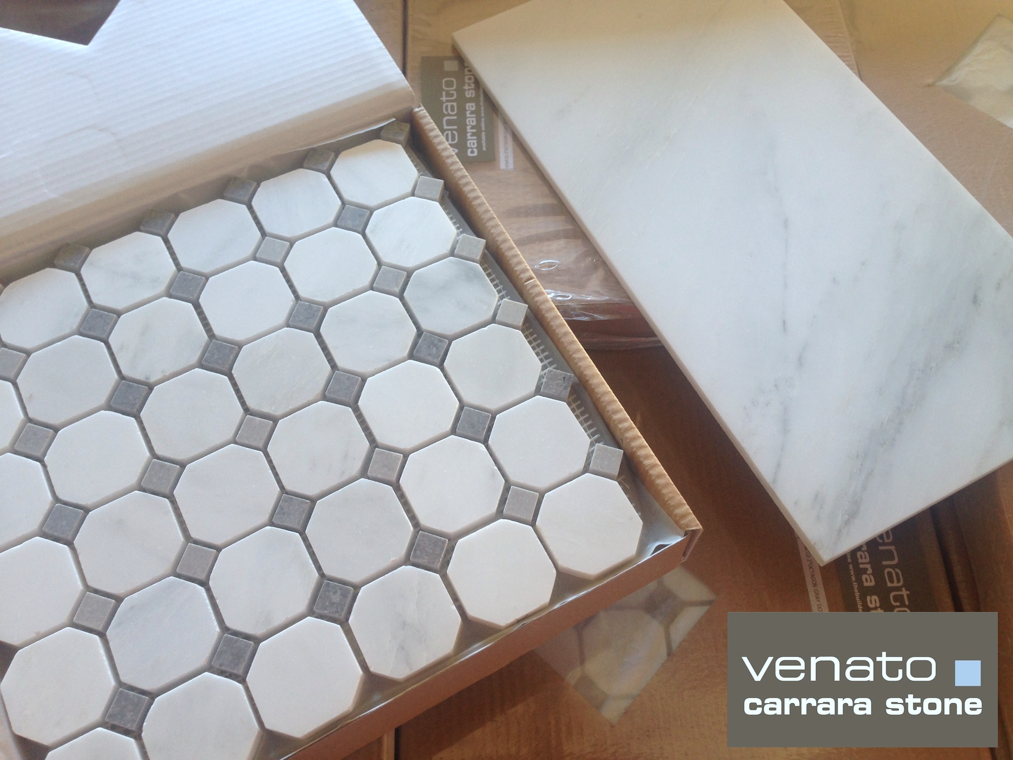 Carrara Venato Gray Dot Mosaic Floor and Wall Tile | the builder ...