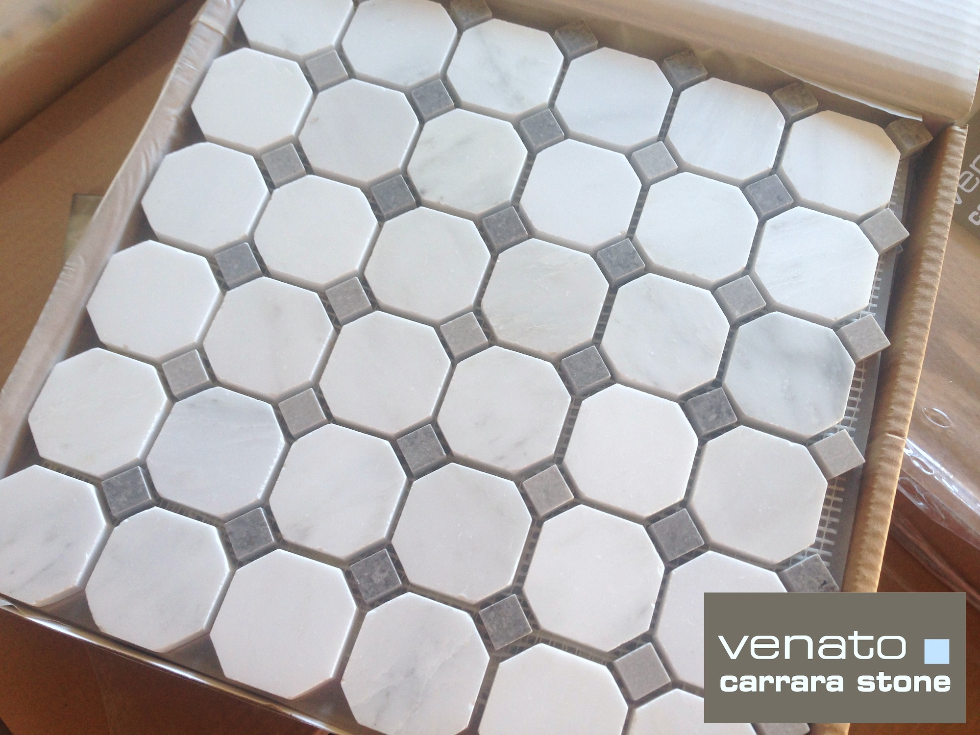 Carrara venato gray dot mosaic floor and wall tile the builder carrara venato honed gray dot octagon mosaic tile dailygadgetfo Gallery