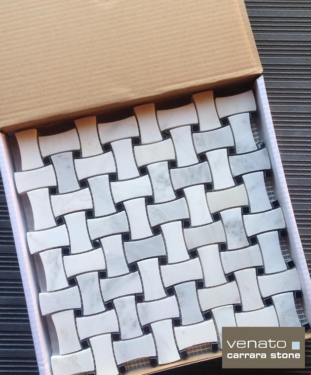 Carrara Venato DogBone Basketweave Mosaic Tile