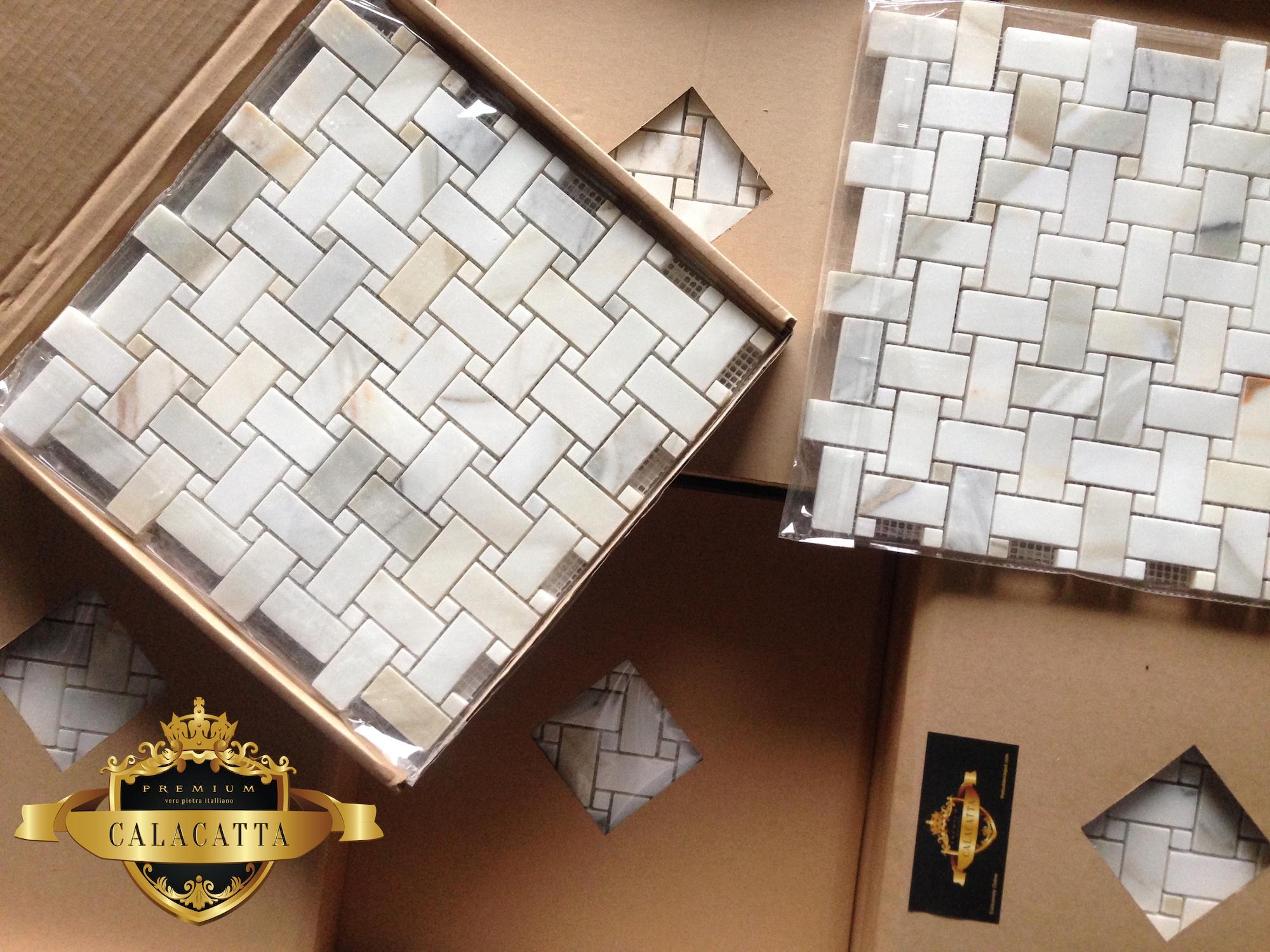 Calacatta Basketweave Marble Mosaic Tile