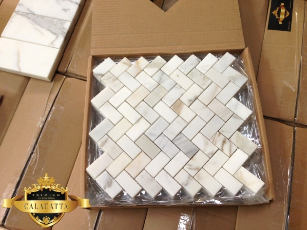 Calacatta Gold Herringbone Marble Mosaic Tile The
