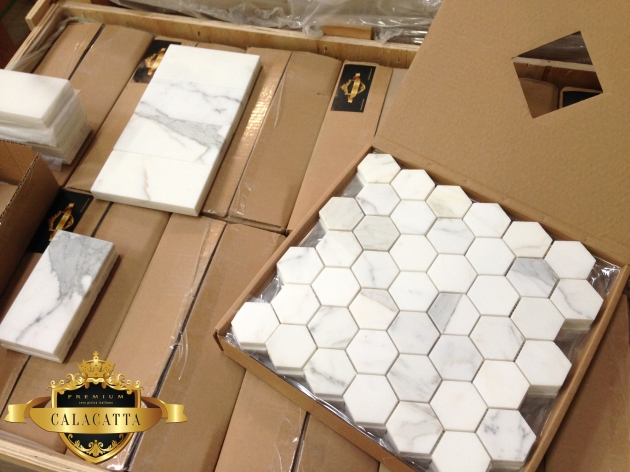 "Calacatta Hexagon 2"" Mosaic Tile"