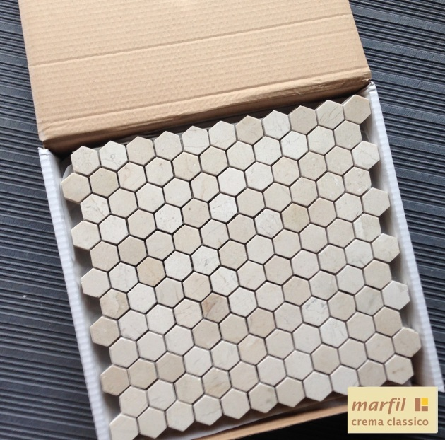 "Crema Marfil 1x1"" Hexagon Mosaic Tile"