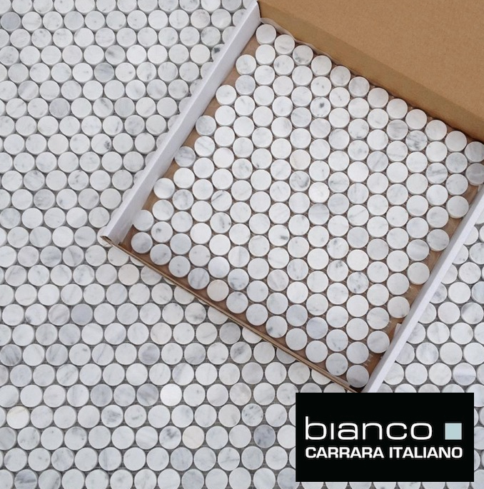 Carrara Bianco 1 25mm Penny Rounds Marble Tiles The
