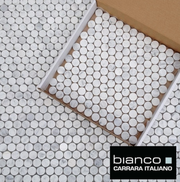 Carrara Bianco Pennyrounds Tiles