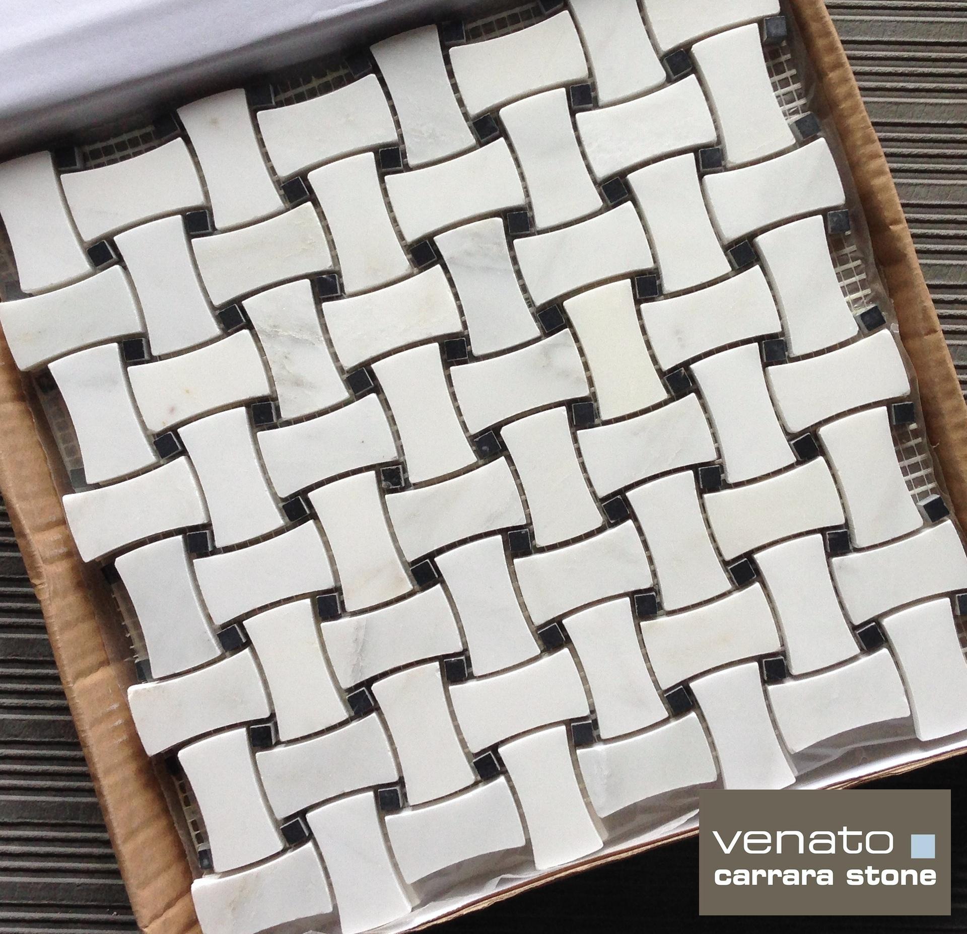 Marble Basketweave Tile >> Carrara Venato DogBone Basketweave   the builder depot blog