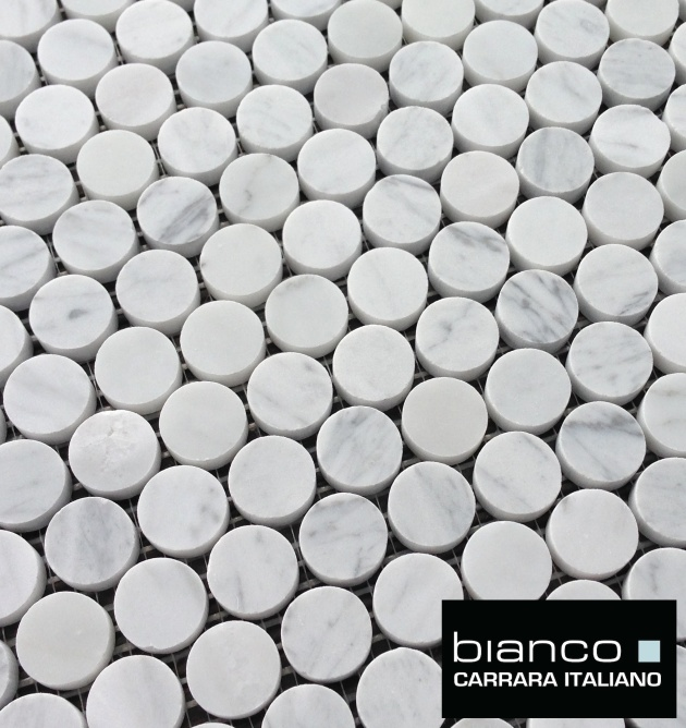 "Carrara Bianco 1"" Pennyround Mosaic"