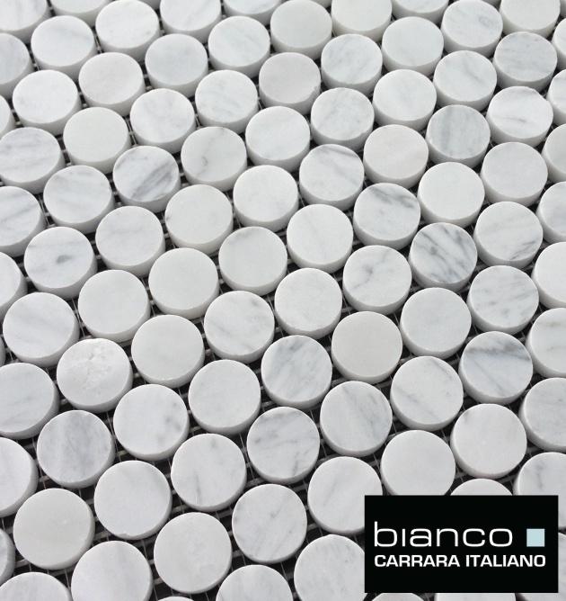 "Carrara Bianco 1"" Pennyround Mosaic"