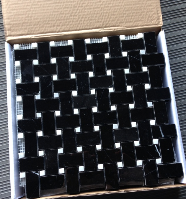 Nero Marquina Black Marble Basketweave Mosaic Tile