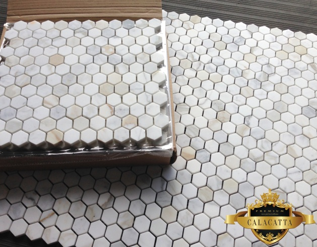 Calacatta 1x1 Hexagon Mosaic