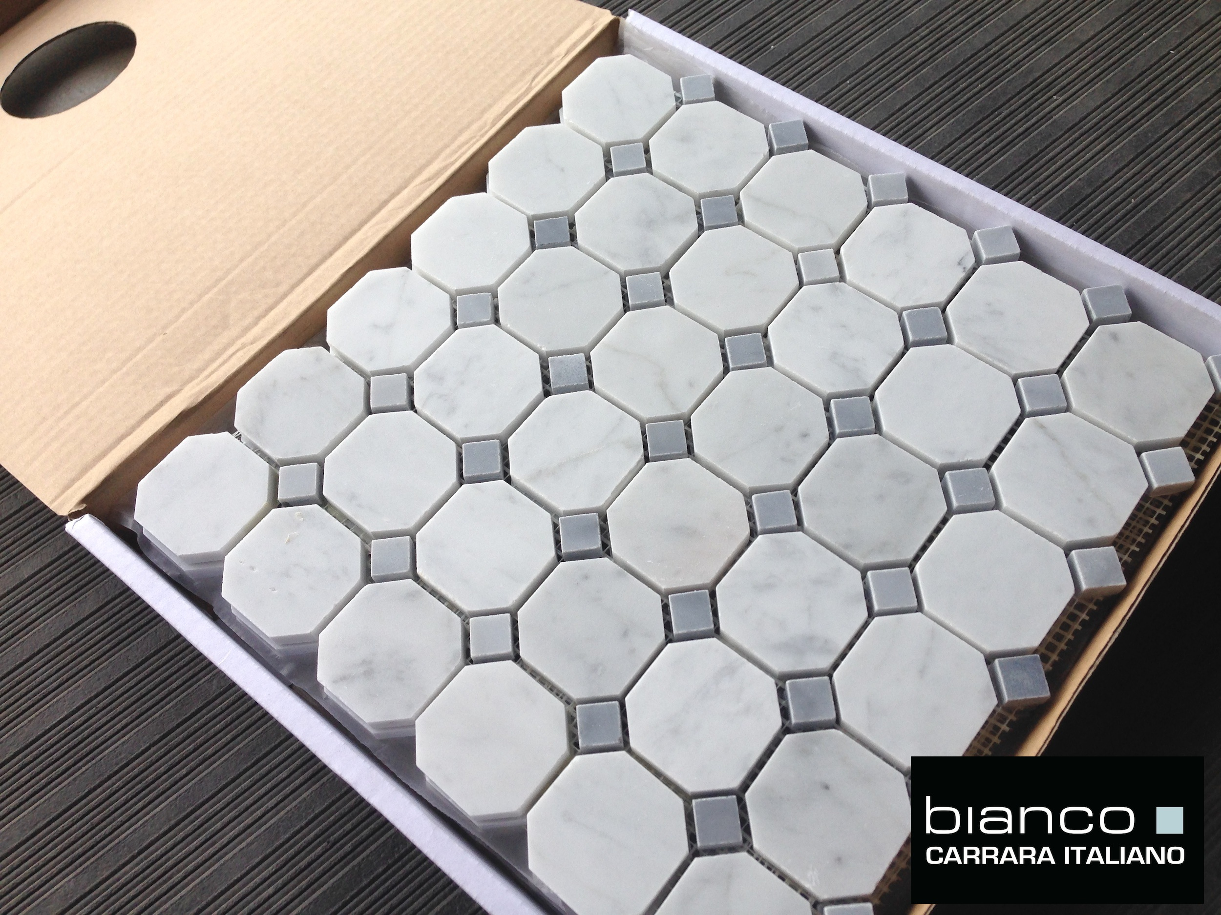 Carrara Bianco 2″ Gray Dot Octagon Mosaic Tile | the builder depot blog